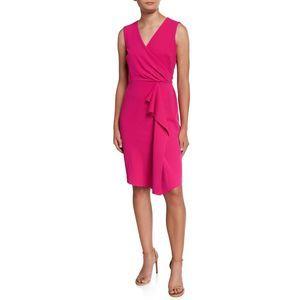 Donna Karan Womens Faux Wrap Ruffled Sheath Dress